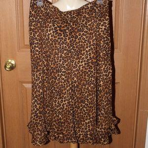 Cheetah Print Bottom Ruffled Skirt